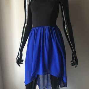 Black and Royal Blue Strapless Dress
